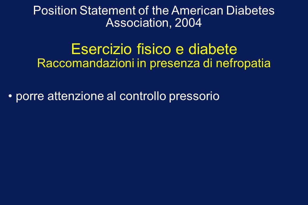 Position Statement of the American Diabetes Association, 2004 Esercizio fisico e diabete Raccomandazioni in presenza di nefropatia porre attenzione al controllo pressorio