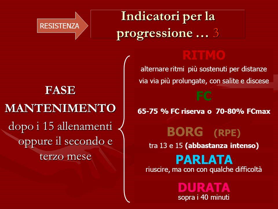 Indicatori per la progressione … 3 RESISTENZA FASEMANTENIMENTO dopo i 15 allenamenti oppure il secondo e terzo mese RITMO alternare ritmi più sostenut