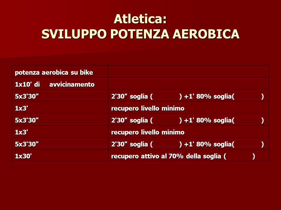 Atletica: SVILUPPO POTENZA AEROBICA potenza aerobica su bike 1x10' di avvicinamento 5x3'30