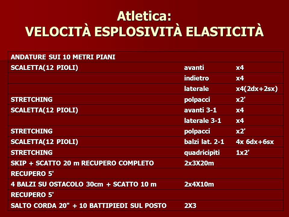 Atletica: VELOCITÀ ESPLOSIVITÀ ELASTICITÀ ANDATURE SUI 10 METRI PIANI SCALETTA(12 PIOLI) avantix4 indietrox4 lateralex4(2dx+2sx) STRETCHINGpolpaccix2'