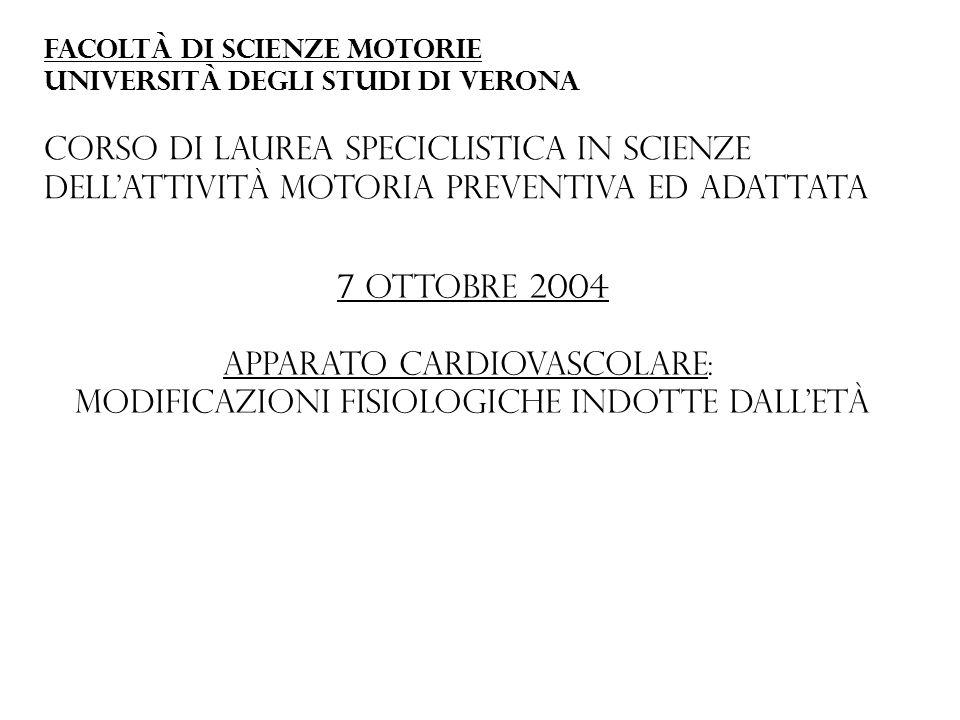 7 ottobre 2004 Apparato cardiovascolare: Modificazioni fisiologiche indotte dalletà Facoltà di scienze motorie Università degli studi di verona Corso