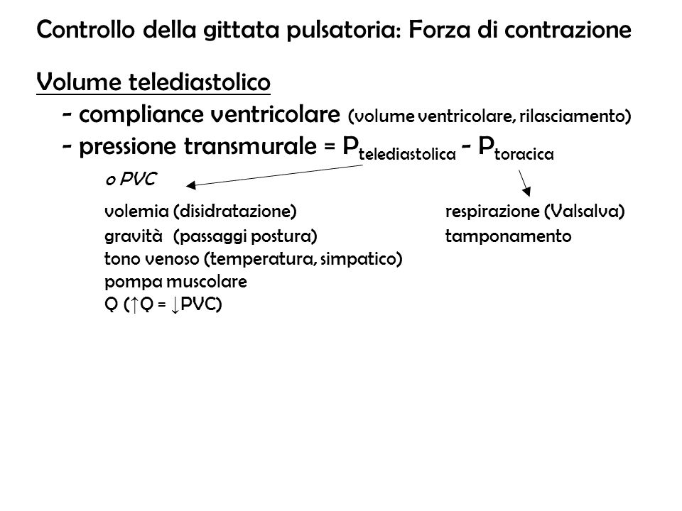 Controllo della gittata pulsatoria: Forza di contrazione Volume telediastolico - compliance ventricolare (volume ventricolare, rilasciamento) - pressi