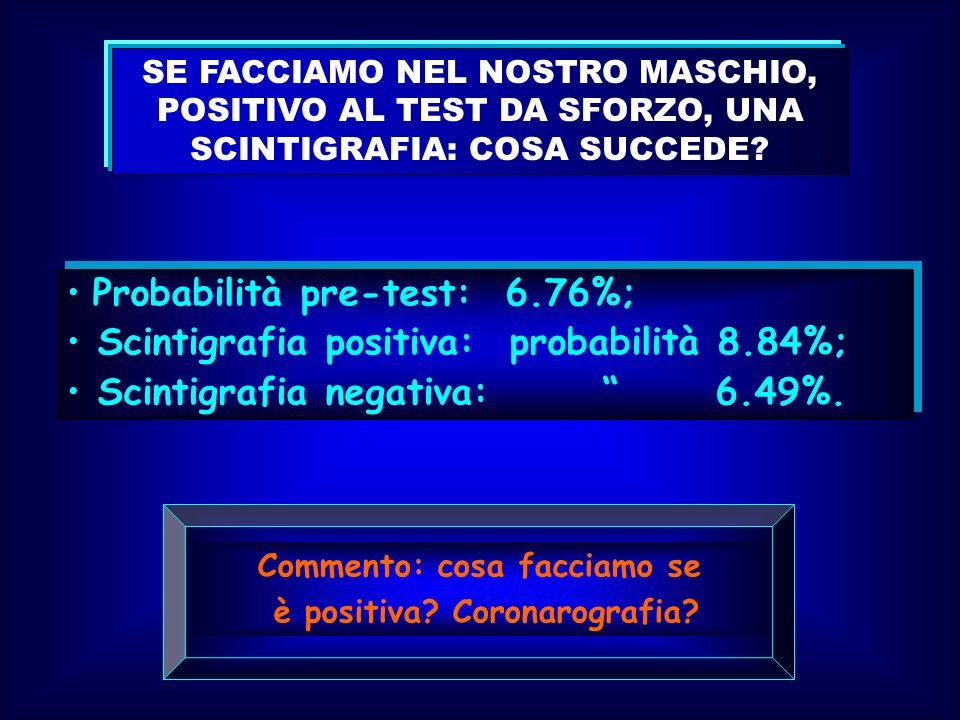 SE FACCIAMO NEL NOSTRO MASCHIO, POSITIVO AL TEST DA SFORZO, UNA SCINTIGRAFIA: COSA SUCCEDE? Probabilità pre-test: 6.76%; Scintigrafia positiva: probab