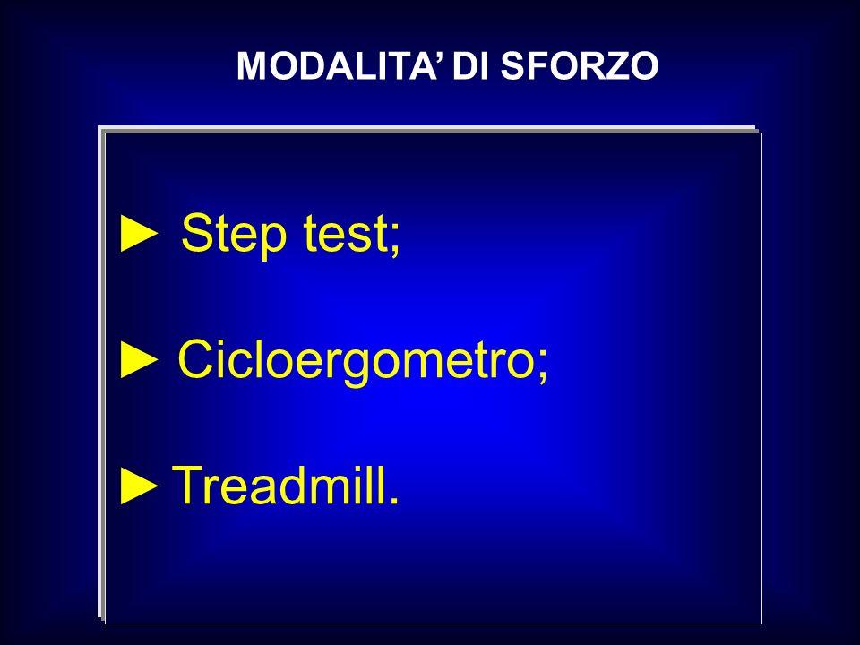MODALITA DI SFORZO Step test; Cicloergometro; Treadmill.