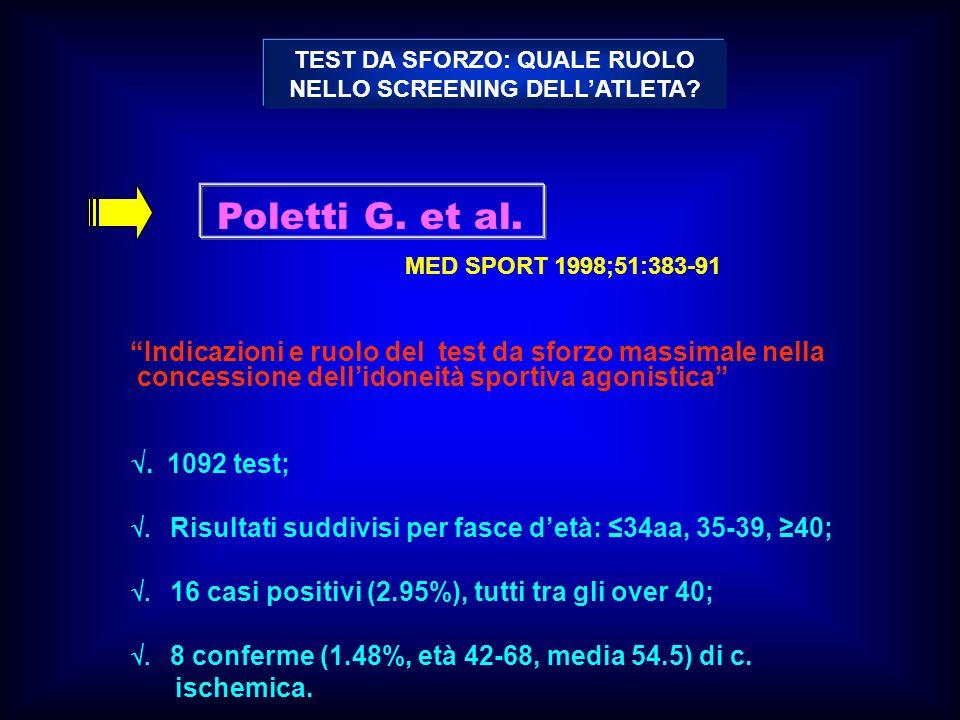 Poletti G. et al. MED SPORT 1998;51:383-91 Indicazioni e ruolo del test da sforzo massimale nella concessione dellidoneità sportiva agonistica. 1092 t
