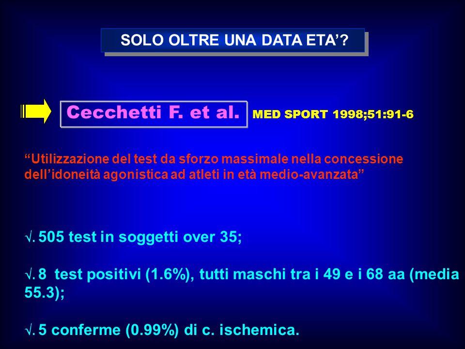 Cecchetti F. et al. MED SPORT 1998;51:91-6 Utilizzazione del test da sforzo massimale nella concessione dellidoneità agonistica ad atleti in età medio