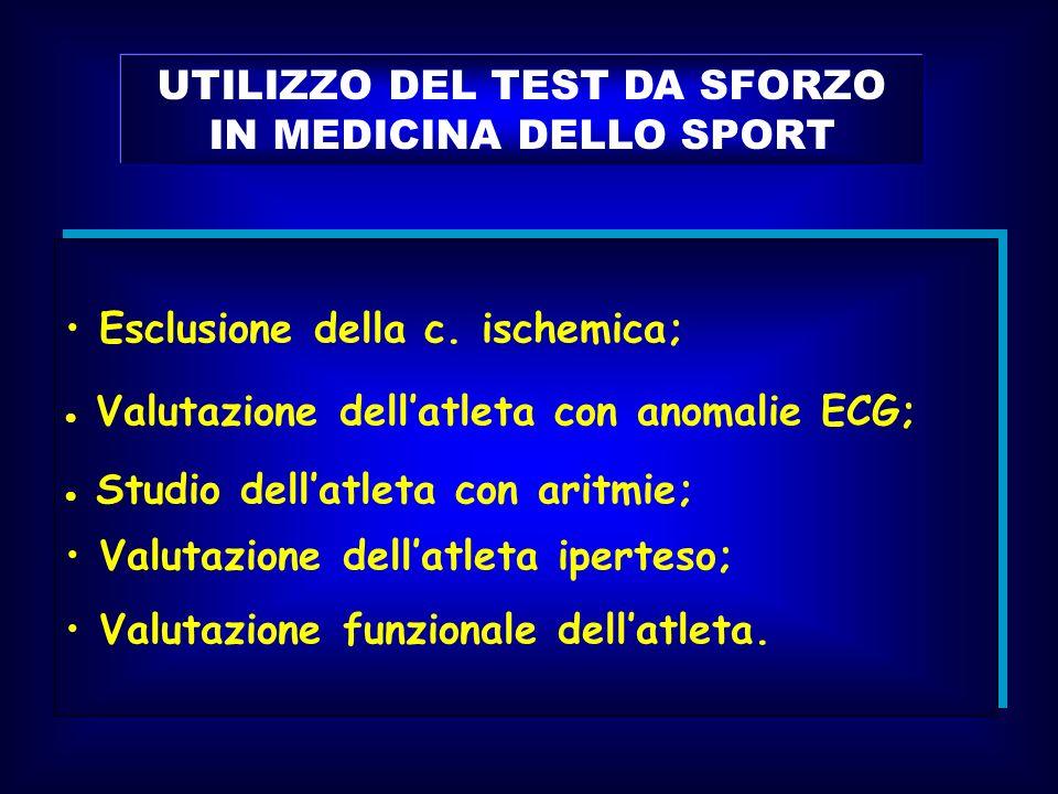 UTILIZZO DEL TEST DA SFORZO IN MEDICINA DELLO SPORT Esclusione della c. ischemica; Valutazione dellatleta con anomalie ECG; Studio dellatleta con arit