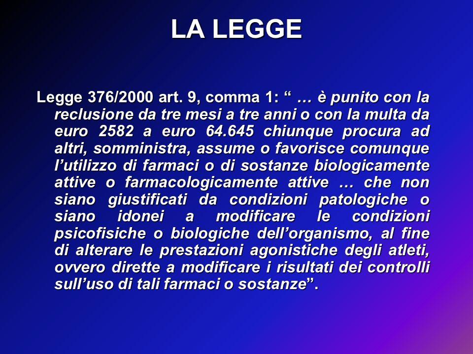 LA LEGGE Legge 376/2000 art. 9, comma 1: … è punito con la reclusione da tre mesi a tre anni o con la multa da euro 2582 a euro 64.645 chiunque procur