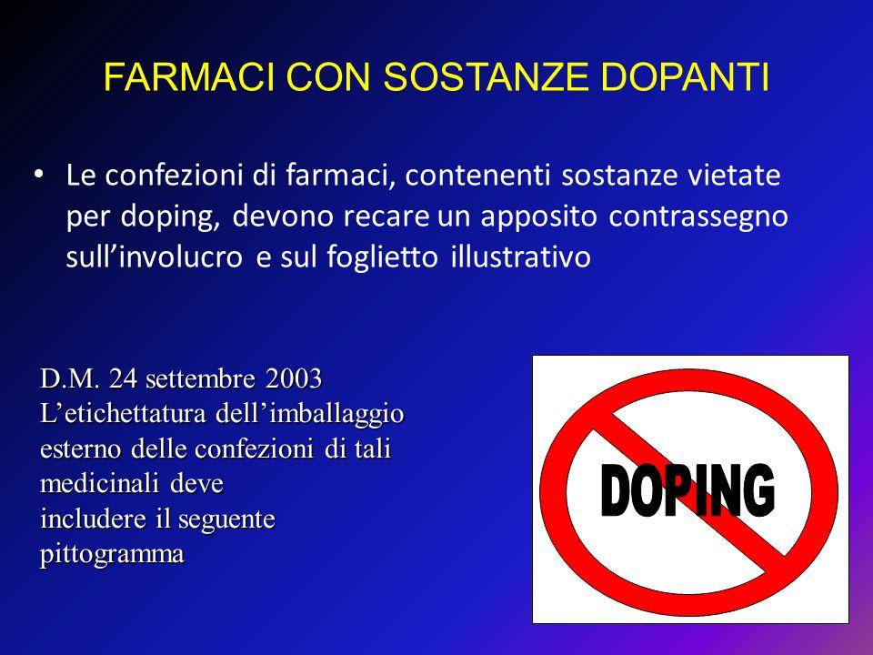 Le confezioni di farmaci, contenenti sostanze vietate per doping, devono recare un apposito contrassegno sullinvolucro e sul foglietto illustrativo FA