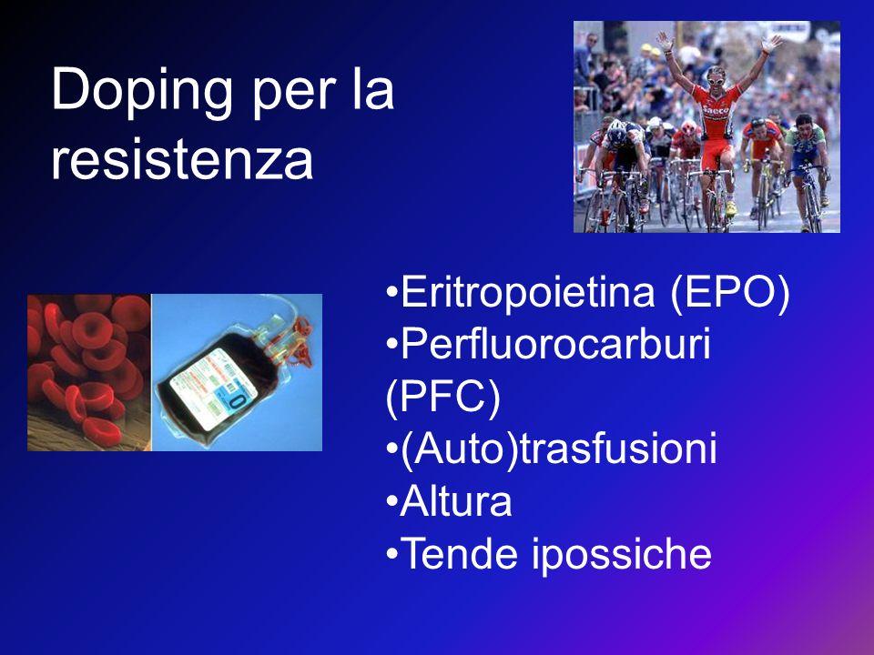 Doping per la resistenza Eritropoietina (EPO) Perfluorocarburi (PFC) (Auto)trasfusioni Altura Tende ipossiche
