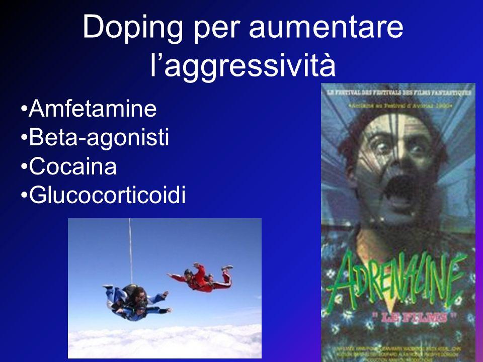 Doping per aumentare laggressività Amfetamine Beta-agonisti Cocaina Glucocorticoidi