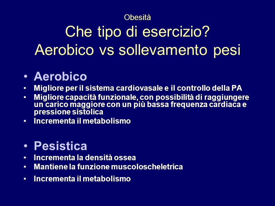 Aerobico Migliore per il sistema cardiovasale e il controllo della PA Migliore capacità funzionale, con possibilità di raggiungere un carico maggiore
