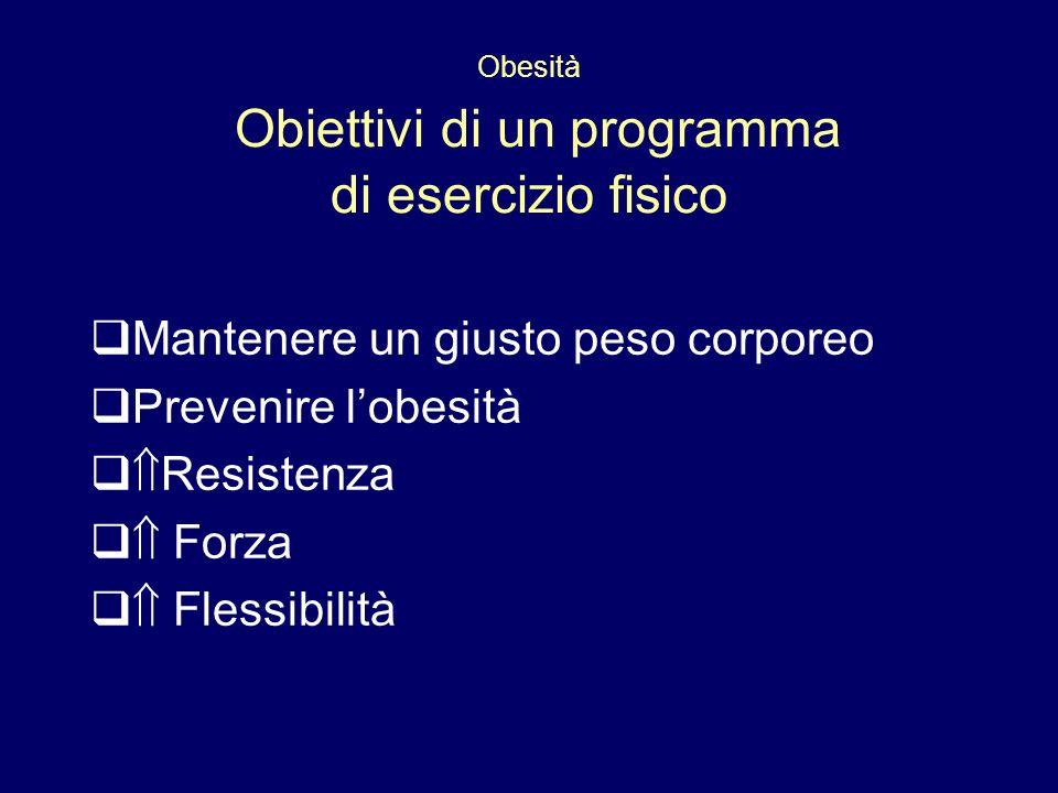 Obesità Obiettivi di un programma di esercizio fisico Mantenere un giusto peso corporeo Prevenire lobesità Resistenza Forza Flessibilità