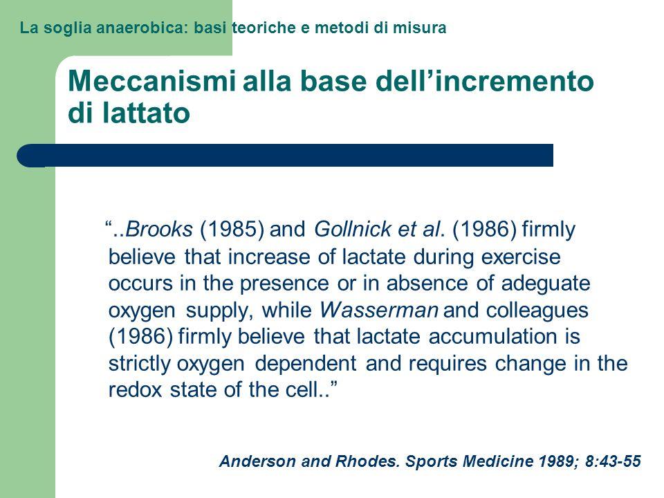 La soglia anaerobica: basi teoriche e metodi di misura Meccanismi alla base dellincremento di lattato..Brooks (1985) and Gollnick et al. (1986) firmly