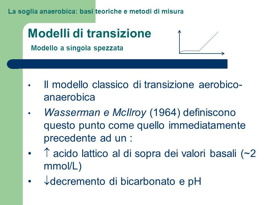 La soglia anaerobica: basi teoriche e metodi di misura Modelli di transizione Modello a doppia spezzata Kinderman et al (1979) dimostrano che un esercizio di elevata intensità che produca una concentrazione di lattato di circa 4 mmol/L, può essere mantenuto per un lungo periodo.
