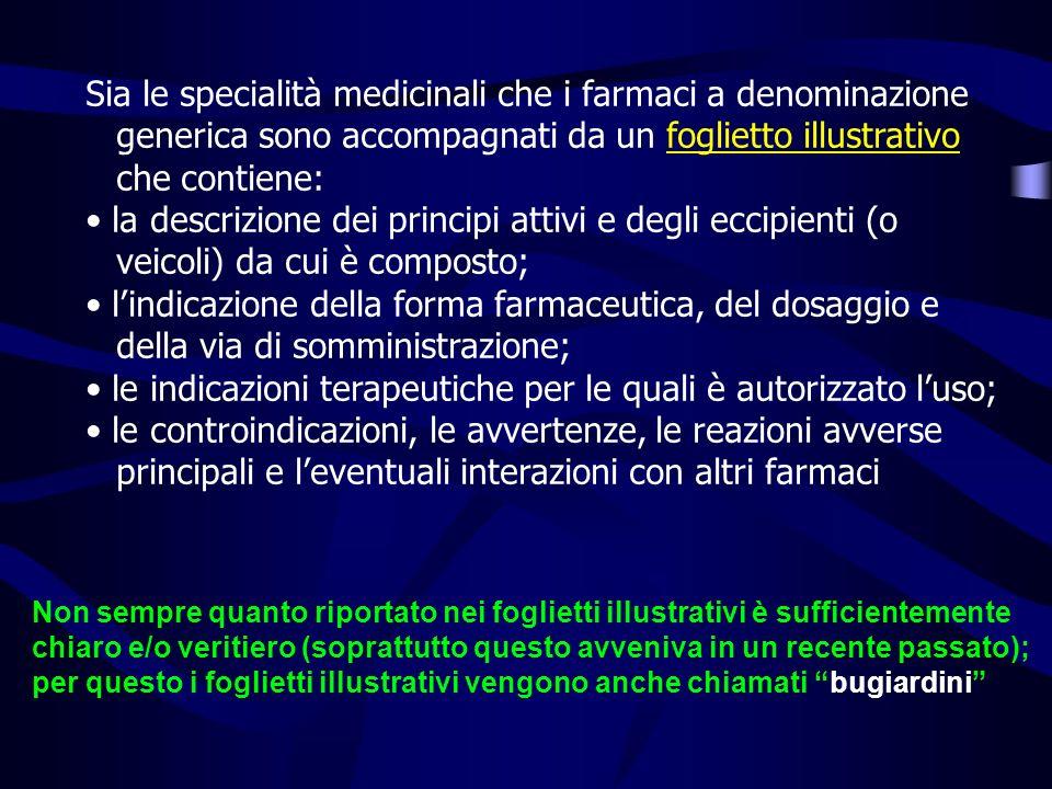 Sia le specialità medicinali che i farmaci a denominazione generica sono accompagnati da un foglietto illustrativo che contiene: la descrizione dei pr