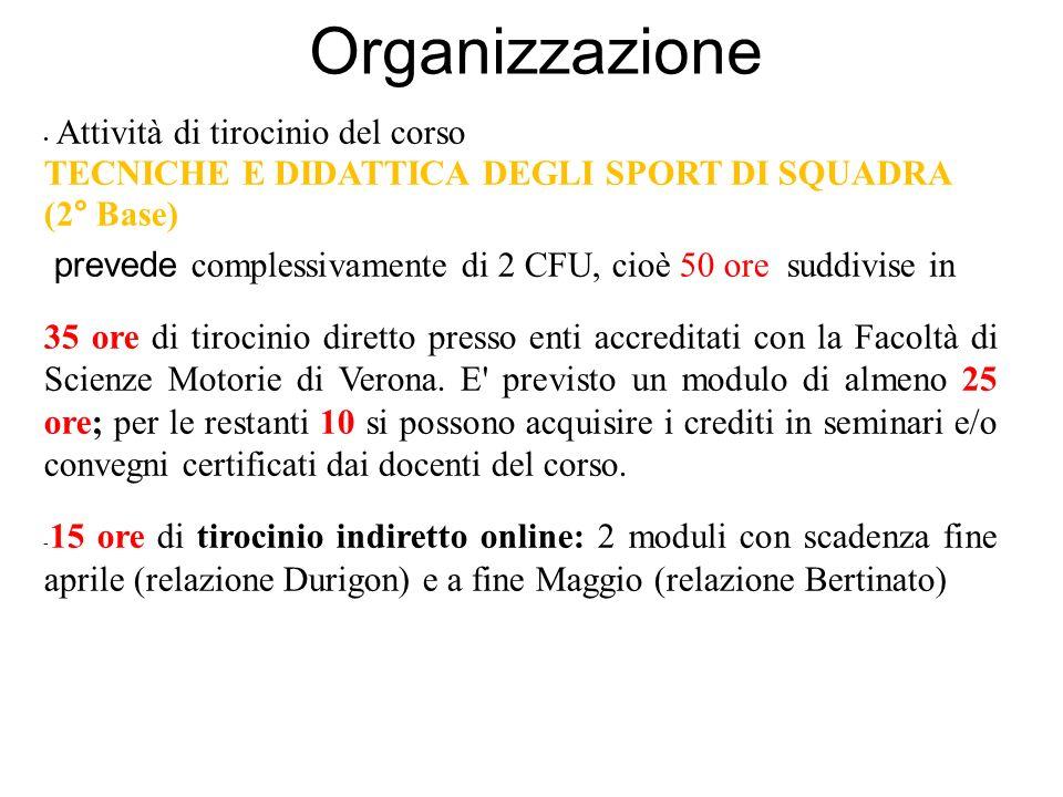 Organizzazione Attività di tirocinio del corso TECNICHE E DIDATTICA DEGLI SPORT DI SQUADRA (2° Base) prevede complessivamente di 2 CFU, cioè 50 ore suddivise in 35 ore di tirocinio diretto presso enti accreditati con la Facoltà di Scienze Motorie di Verona.