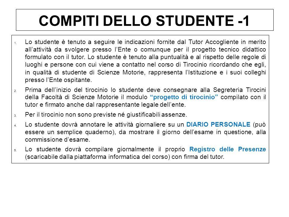 COMPITI DELLO STUDENTE -1 1.