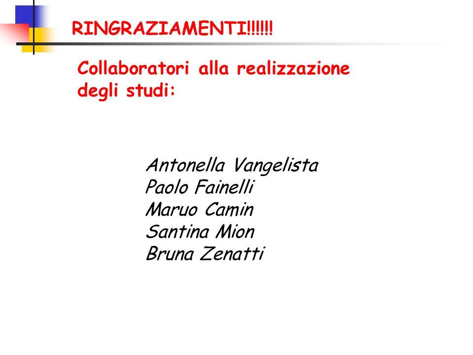 Collaboratori alla realizzazione degli studi: Antonella Vangelista Paolo Fainelli Maruo Camin Santina Mion Bruna Zenatti RINGRAZIAMENTI!!!!!!