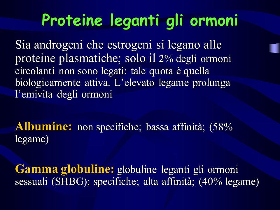 Proteine leganti gli ormoni Sia androgeni che estrogeni si legano alle proteine plasmatiche; solo il 2% degli ormoni circolanti non sono legati: tale