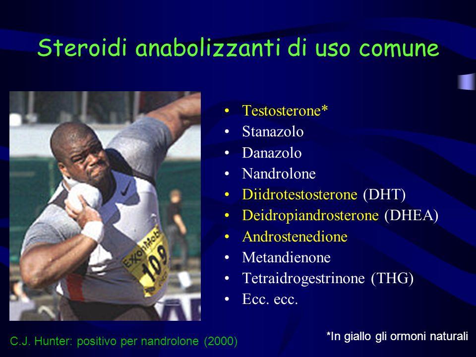 Steroidi anabolizzanti di uso comune Testosterone* Stanazolo Danazolo Nandrolone Diidrotestosterone (DHT) Deidropiandrosterone (DHEA) Androstenedione