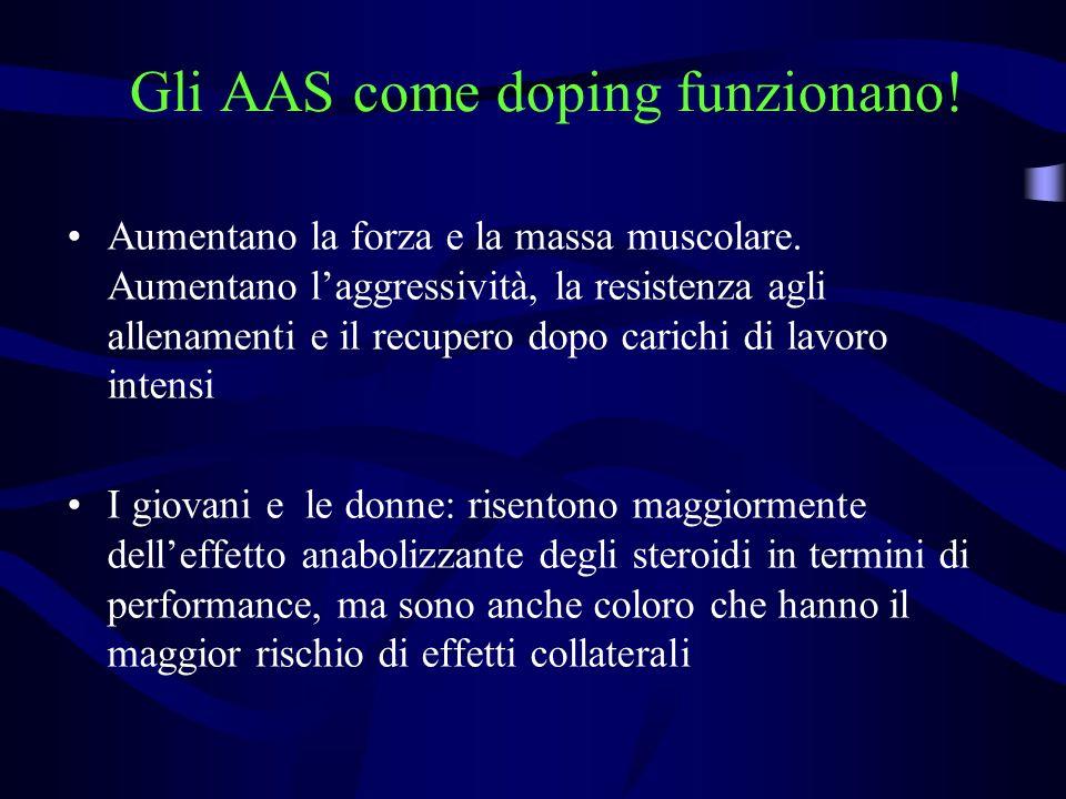 Gli AAS come doping funzionano! Aumentano la forza e la massa muscolare. Aumentano laggressività, la resistenza agli allenamenti e il recupero dopo ca