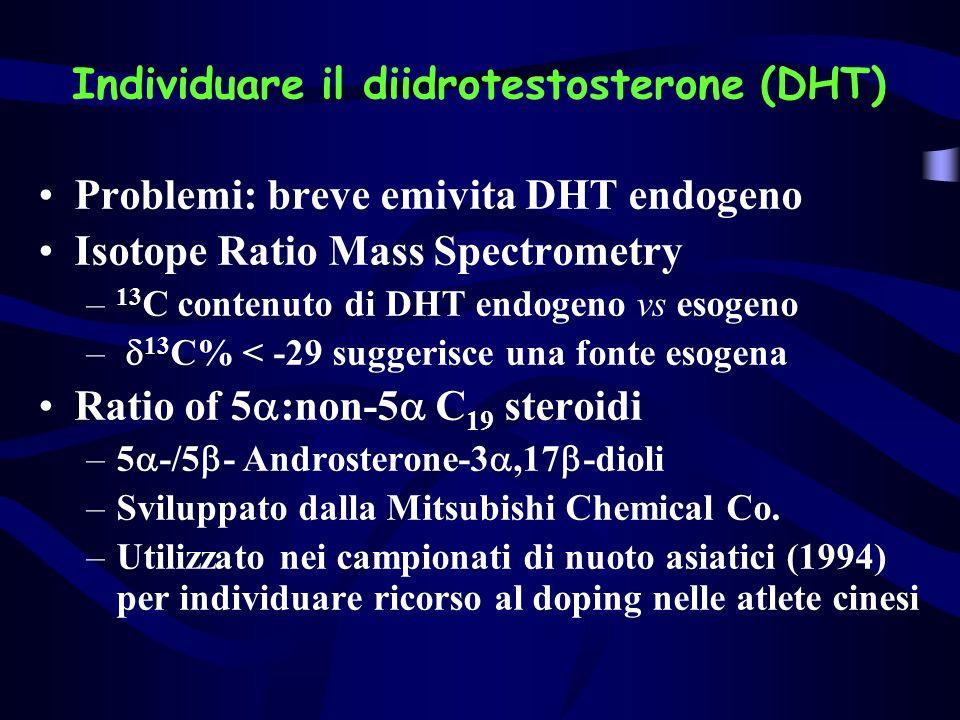 Individuare il diidrotestosterone (DHT) Problemi: breve emivita DHT endogeno Isotope Ratio Mass Spectrometry – 13 C contenuto di DHT endogeno vs esoge