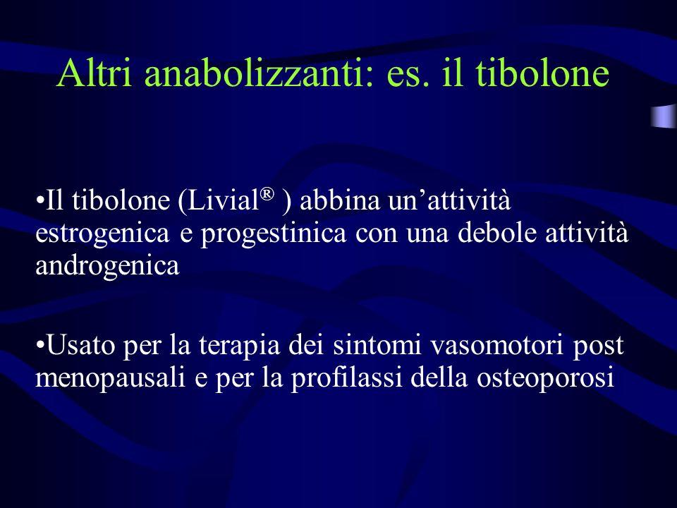 Altri anabolizzanti: es. il tibolone Il tibolone (Livial ® ) abbina unattività estrogenica e progestinica con una debole attività androgenica Usato pe