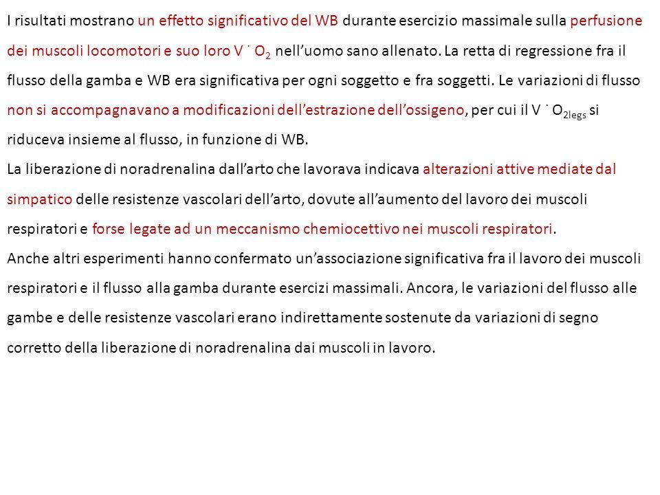 I risultati mostrano un effetto significativo del WB durante esercizio massimale sulla perfusione dei muscoli locomotori e suo loro V ˙ O 2 nelluomo sano allenato.