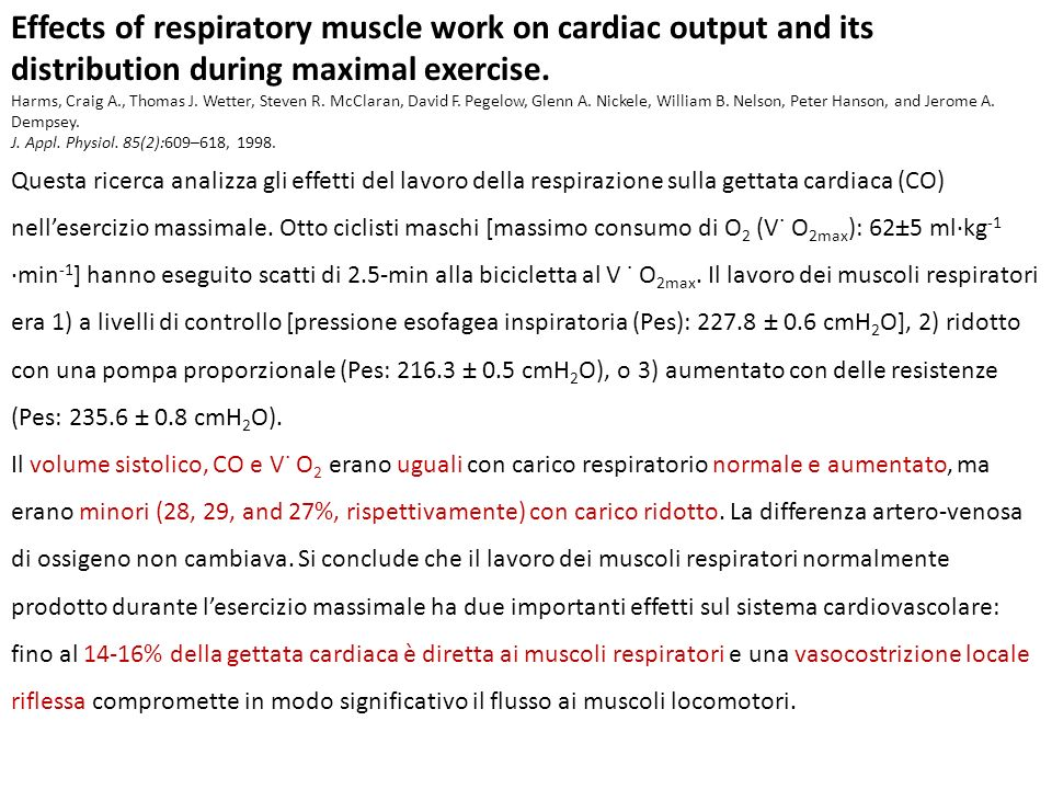 Effects of respiratory muscle work on cardiac output and its distribution during maximal exercise.