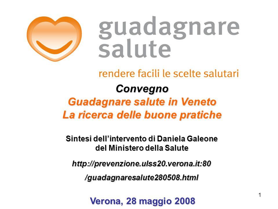 1 http://prevenzione.ulss20.verona.it:80/guadagnaresalute280508.html Verona, 28 maggio 2008 Verona, 28 maggio 2008 Convegno Guadagnare salute in Venet