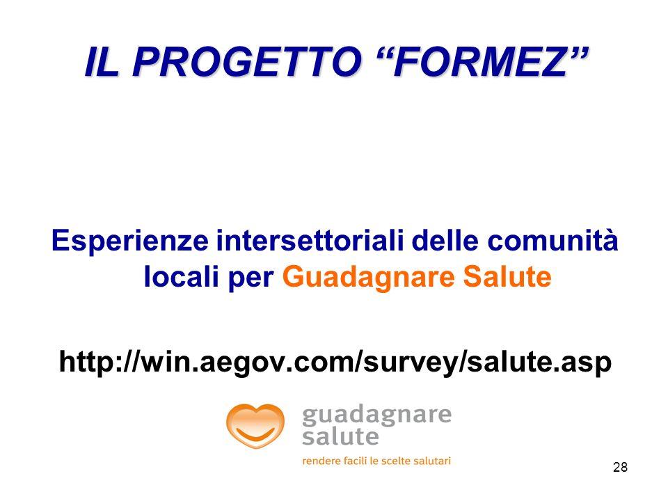 28 Esperienze intersettoriali delle comunità locali per Guadagnare Salute http://win.aegov.com/survey/salute.asp IL PROGETTO FORMEZ