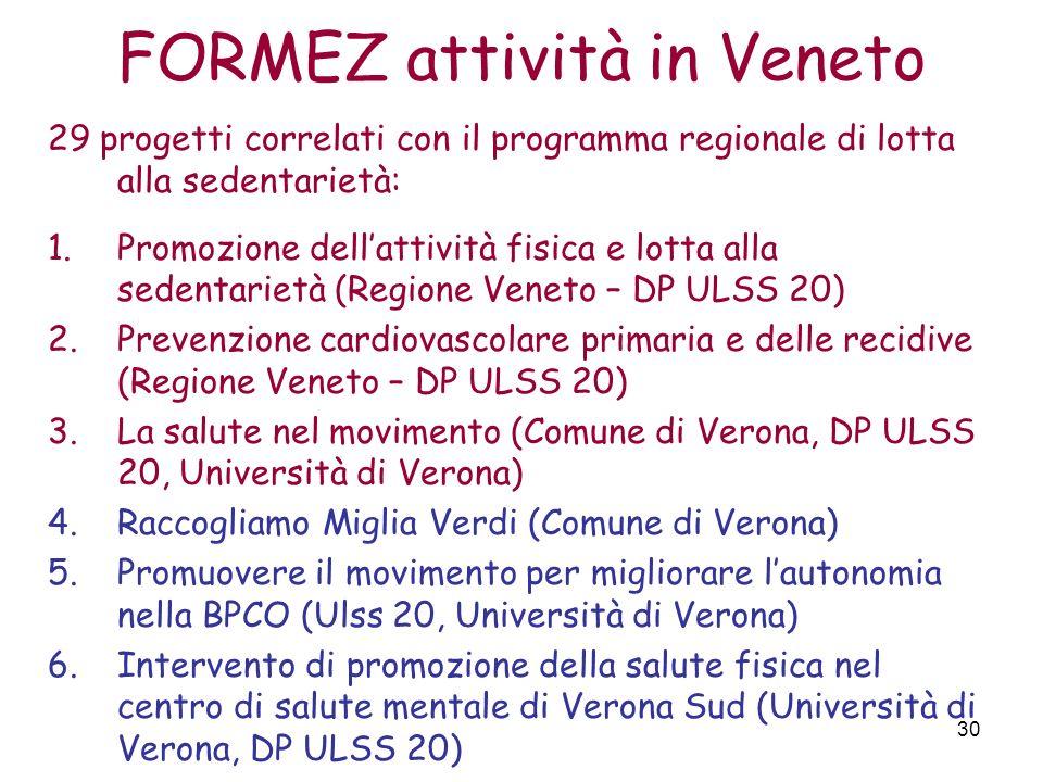 30 FORMEZ attività in Veneto 29 progetti correlati con il programma regionale di lotta alla sedentarietà: 1.Promozione dellattività fisica e lotta all