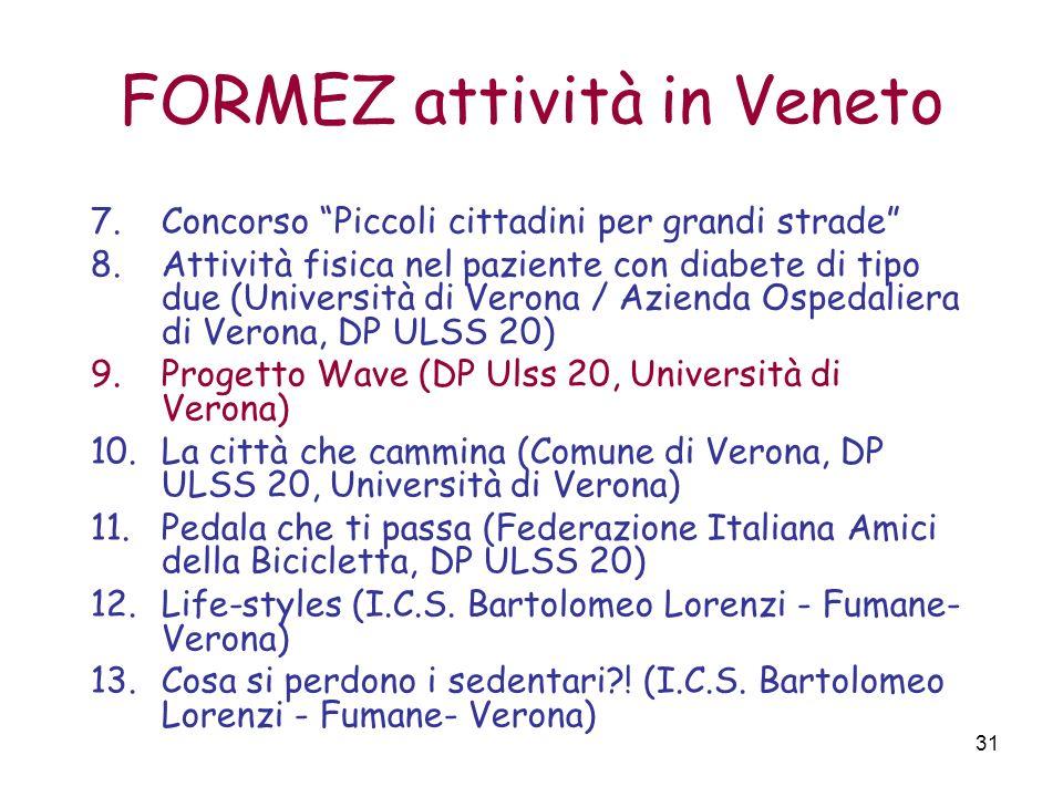 31 FORMEZ attività in Veneto 7.Concorso Piccoli cittadini per grandi strade 8.Attività fisica nel paziente con diabete di tipo due (Università di Vero
