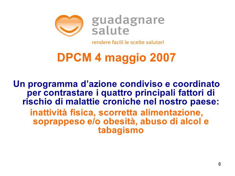 6 DPCM 4 maggio 2007 Un programma dazione condiviso e coordinato per contrastare i quattro principali fattori di rischio di malattie croniche nel nost