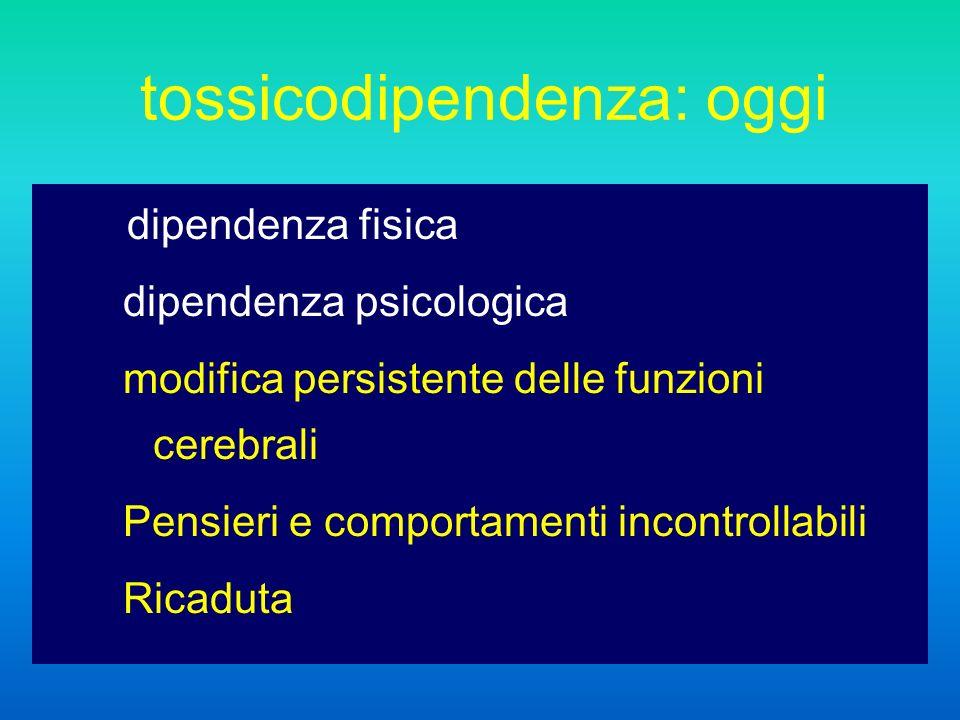 tossicodipendenza: oggi dipendenza fisica dipendenza psicologica modifica persistente delle funzioni cerebrali Pensieri e comportamenti incontrollabili Ricaduta