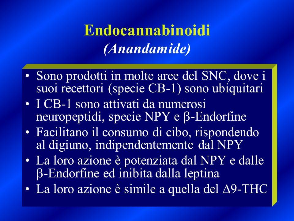 Endocannabinoidi (Anandamide) Sono prodotti in molte aree del SNC, dove i suoi recettori (specie CB-1) sono ubiquitari I CB-1 sono attivati da numeros