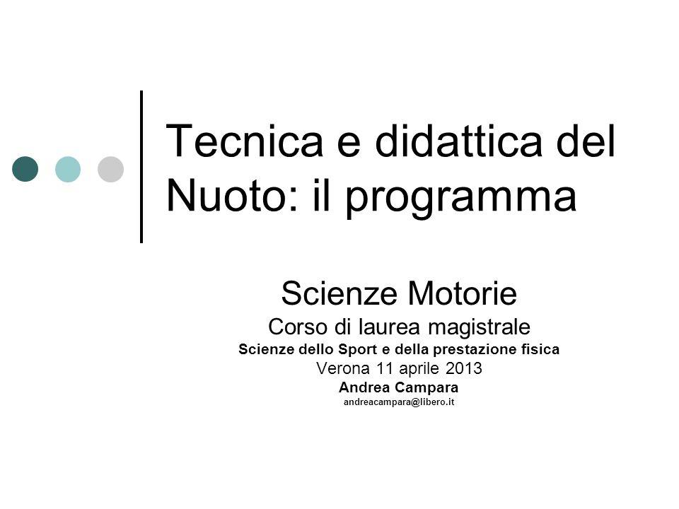 Tecnica e didattica del Nuoto: il programma Scienze Motorie Corso di laurea magistrale Scienze dello Sport e della prestazione fisica Verona 11 aprile