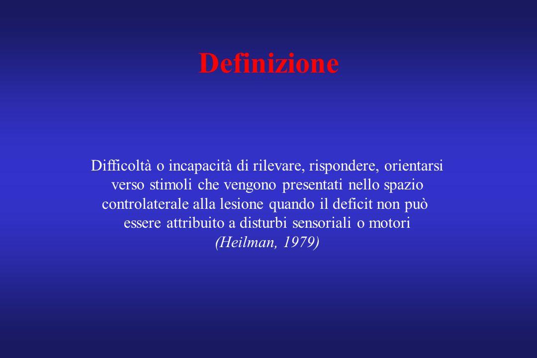 Definizione Difficoltà o incapacità di rilevare, rispondere, orientarsi verso stimoli che vengono presentati nello spazio controlaterale alla lesione