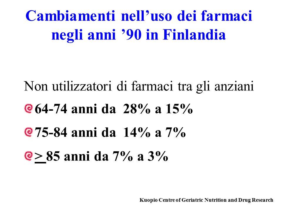 Cambiamenti nelluso dei farmaci negli anni 90 in Finlandia Non utilizzatori di farmaci tra gli anziani 64-74 anni da 28% a 15% 75-84 anni da 14% a 7%