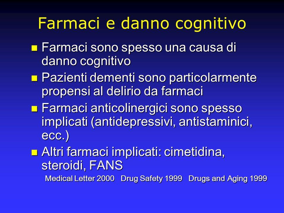 Farmaci e danno cognitivo Farmaci sono spesso una causa di danno cognitivo Farmaci sono spesso una causa di danno cognitivo Pazienti dementi sono part
