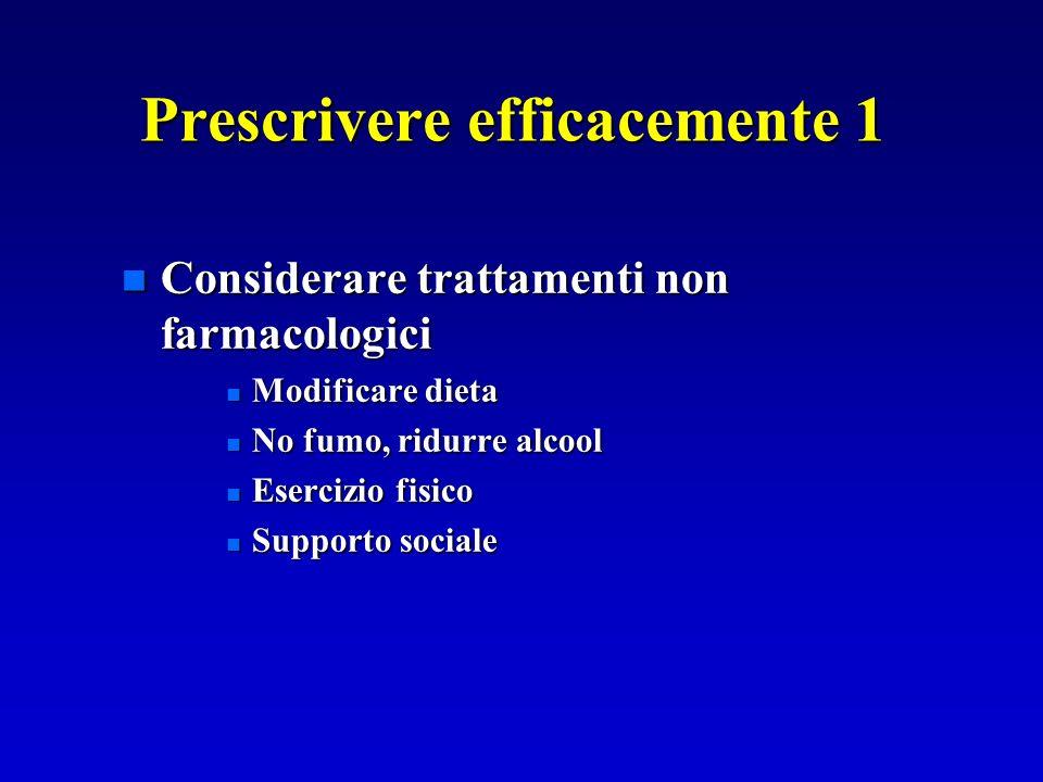 Prescrivere efficacemente 1 n Considerare trattamenti non farmacologici n Modificare dieta n No fumo, ridurre alcool n Esercizio fisico n Supporto soc