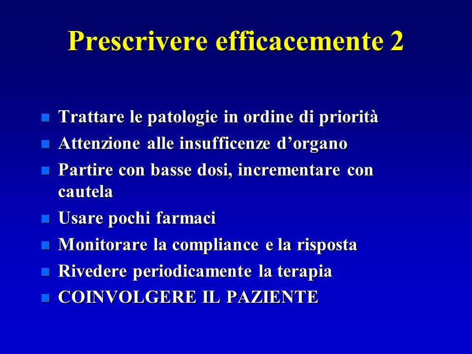 Prescrivere efficacemente 2 n Trattare le patologie in ordine di priorità n Attenzione alle insufficenze dorgano n Partire con basse dosi, incrementar