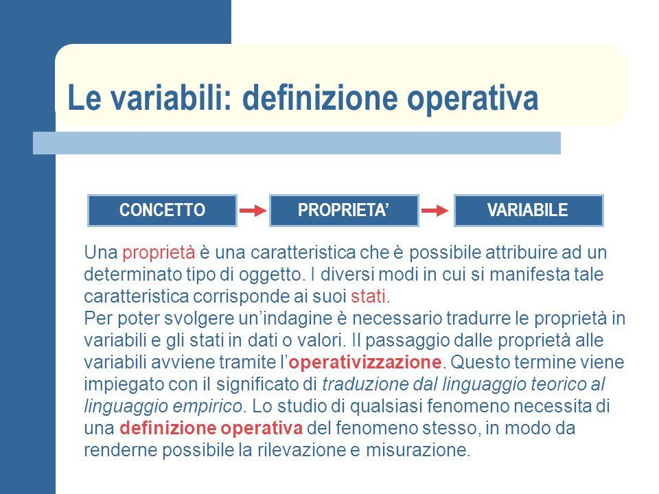 Le variabili: definizione operativa CONCETTOPROPRIETAVARIABILE Una proprietà è una caratteristica che è possibile attribuire ad un determinato tipo di