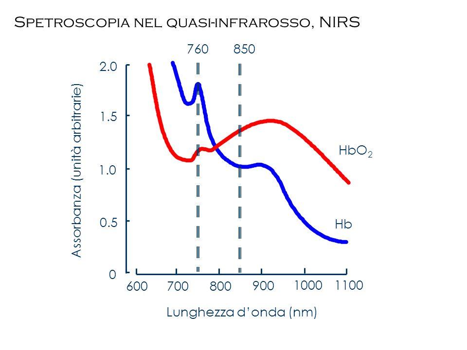 600700800 900 10001100 0.5 1.0 1.5 2.0 0 HbO 2 Hb Lunghezza donda (nm) 850760 Assorbanza (unità arbitrarie) Spetroscopia nel quasi-infrarosso, NIRS