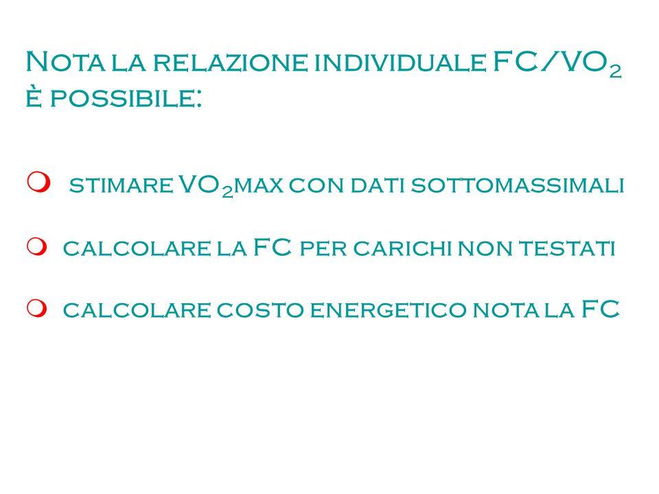 Nota la relazione individuale FC/VO 2 è possibile: stimare VO 2 max con dati sottomassimali calcolare la FC per carichi non testati calcolare costo en