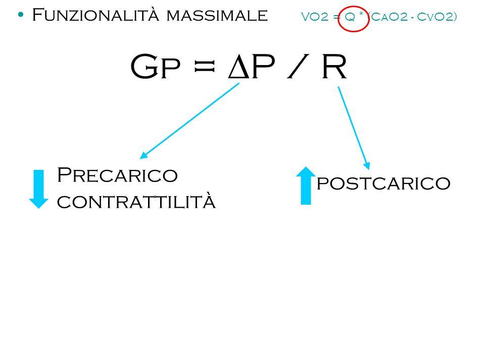 Gp = P / R Precarico contrattilità postcarico Funzionalità massimale VO2 = Q * (CaO2 - CvO2)