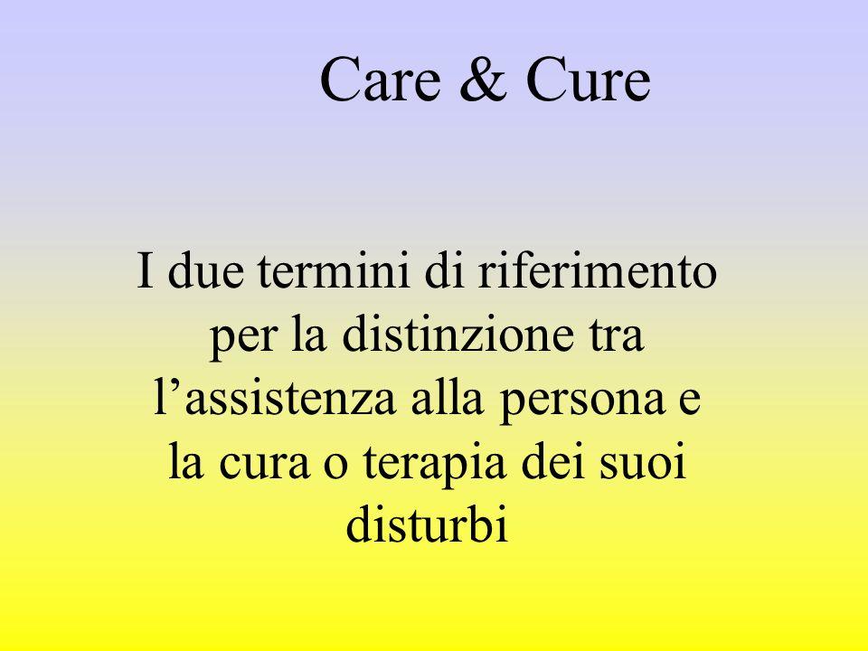 Care & Cure I due termini di riferimento per la distinzione tra lassistenza alla persona e la cura o terapia dei suoi disturbi