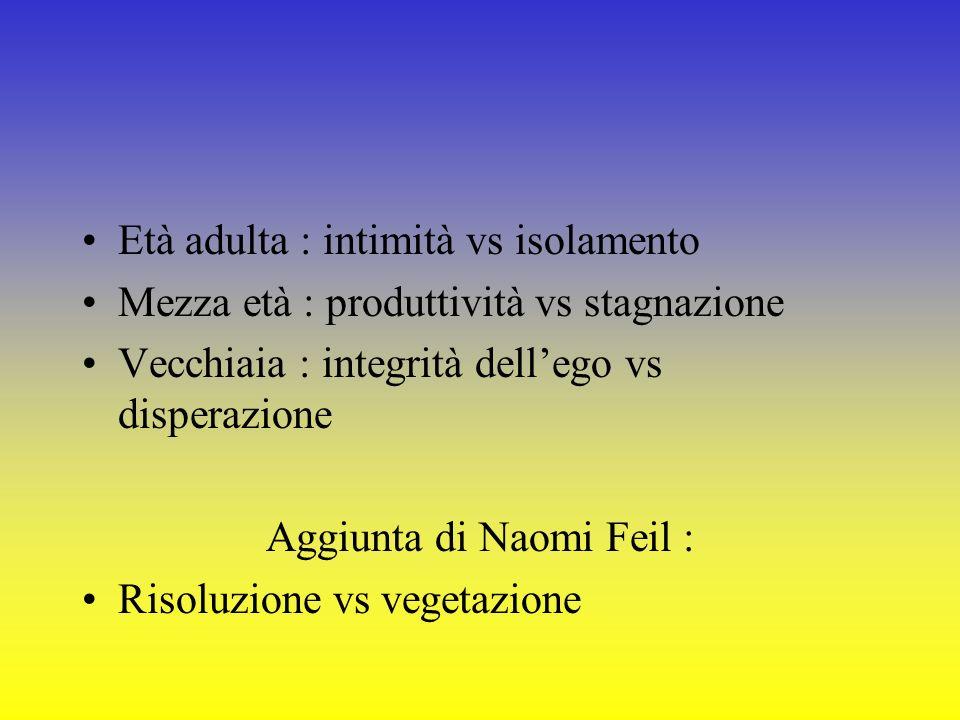 Età adulta : intimità vs isolamento Mezza età : produttività vs stagnazione Vecchiaia : integrità dellego vs disperazione Aggiunta di Naomi Feil : Ris