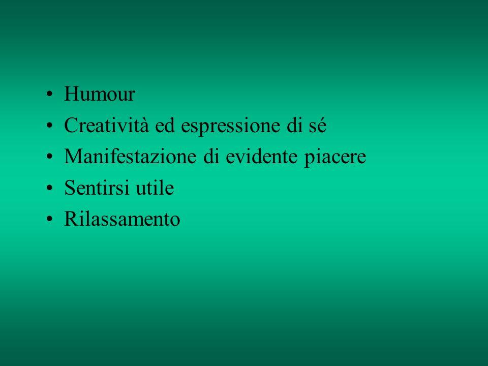Humour Creatività ed espressione di sé Manifestazione di evidente piacere Sentirsi utile Rilassamento